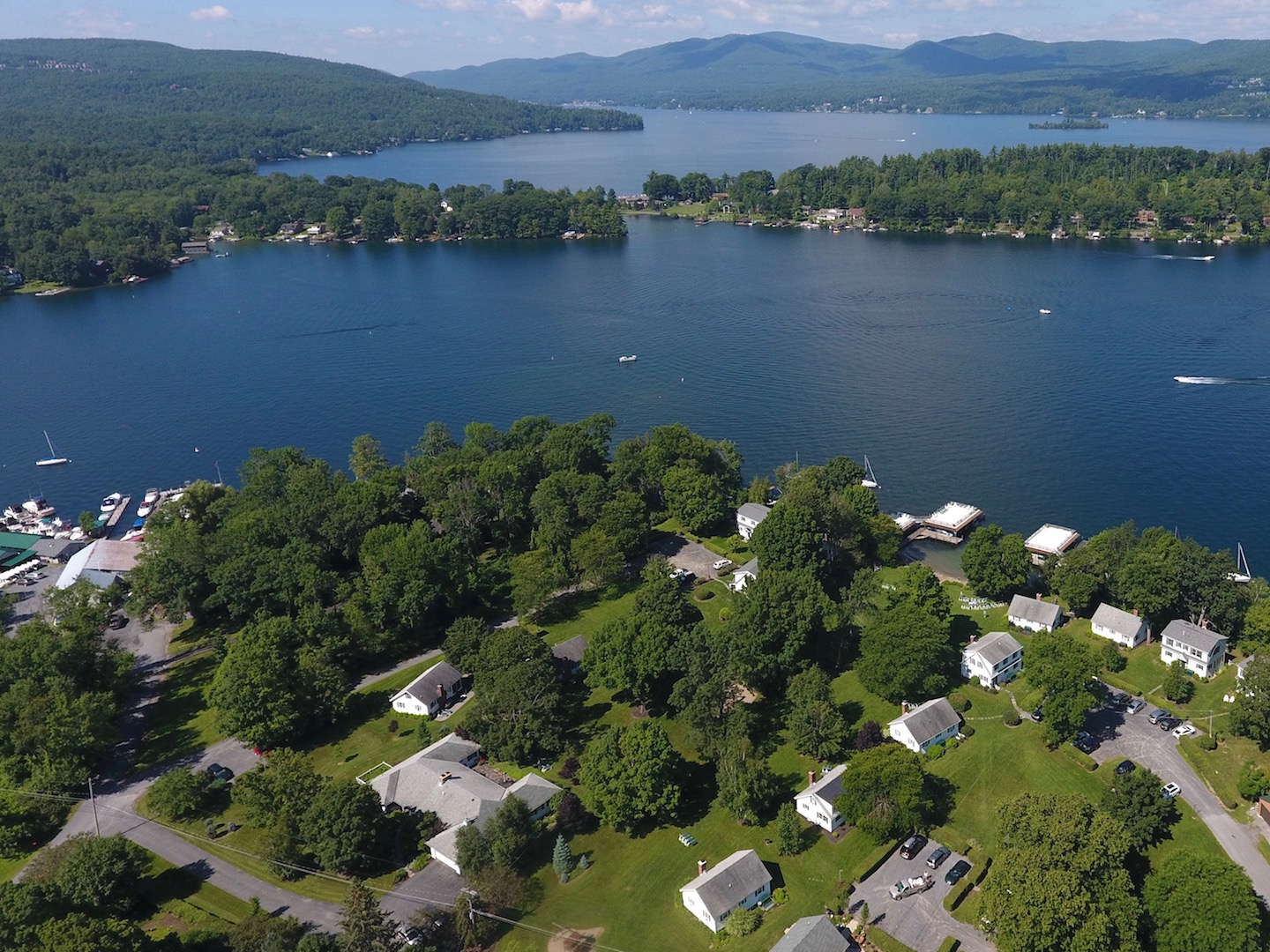 Lake George vacation cabin rentals at Takundewide Cottages on Lake George