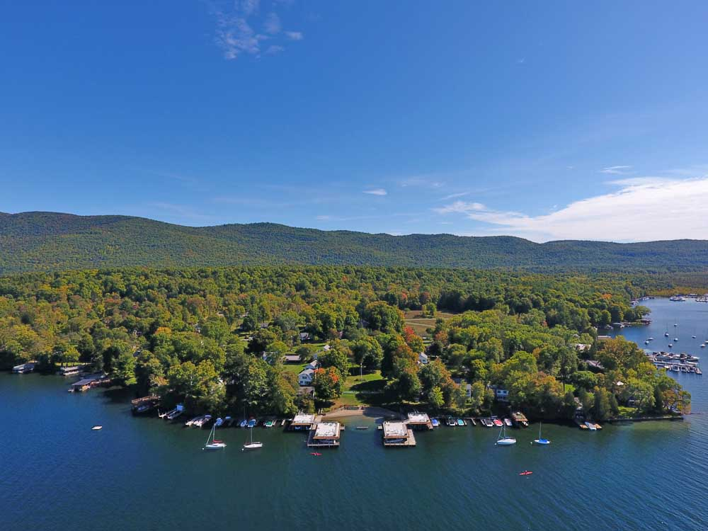 Lake George vacation cabin rentals with Fall Foliage at Takundewide Cottages on Lake George