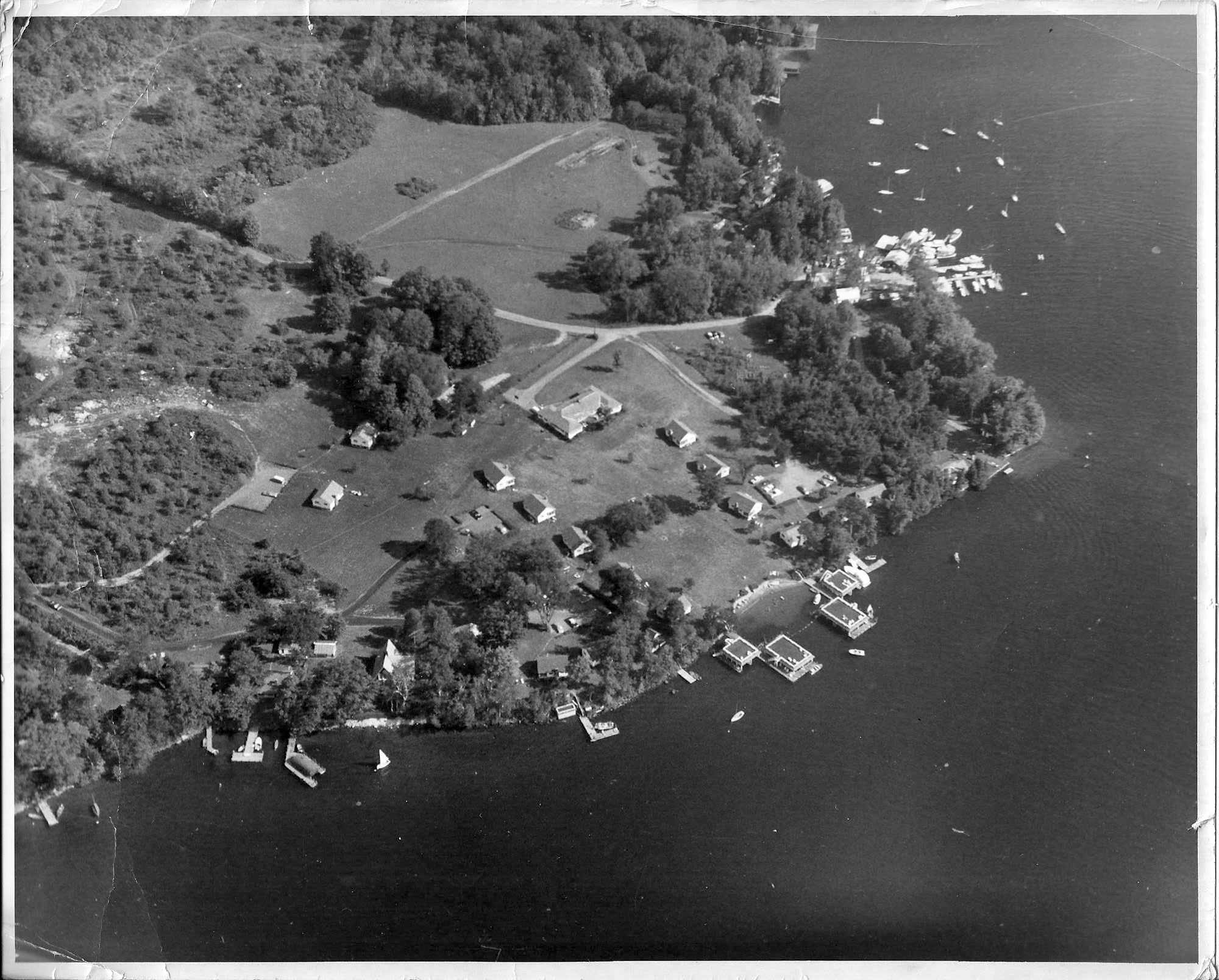 Aerial view of the Cottages on Lake George in 1960