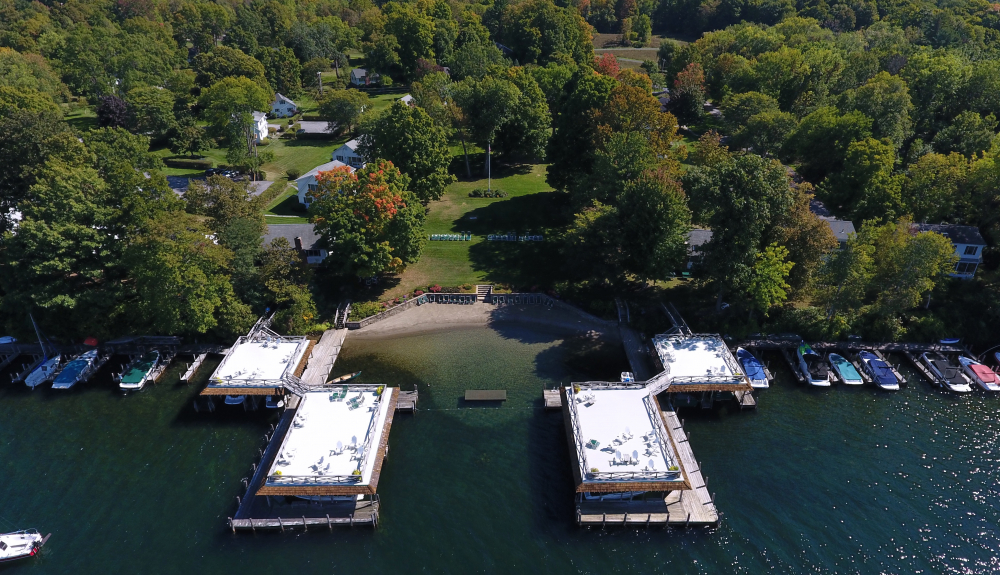 Lake George vacation rentals boathouse sundecks at Takundewide Cottages on Lake George