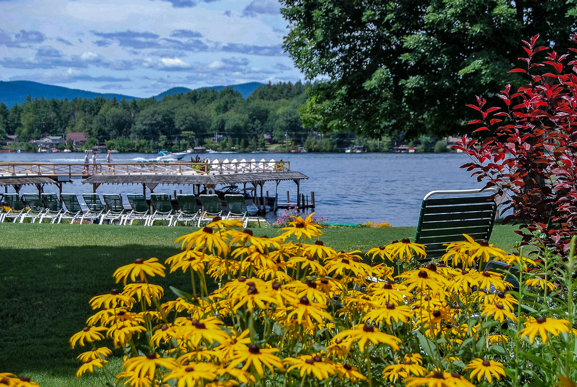 Lake George vacation cabin rentals at Takundewide Cottages on Lake George view of lake from property