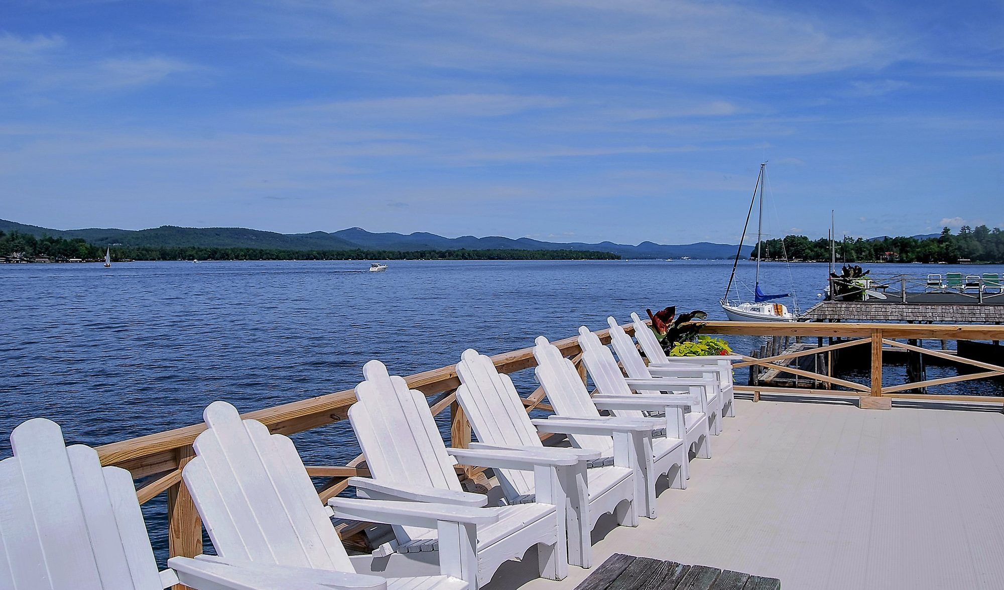 View of Lake George from boathouse sundecks at Takundewide Cottages on Lake George