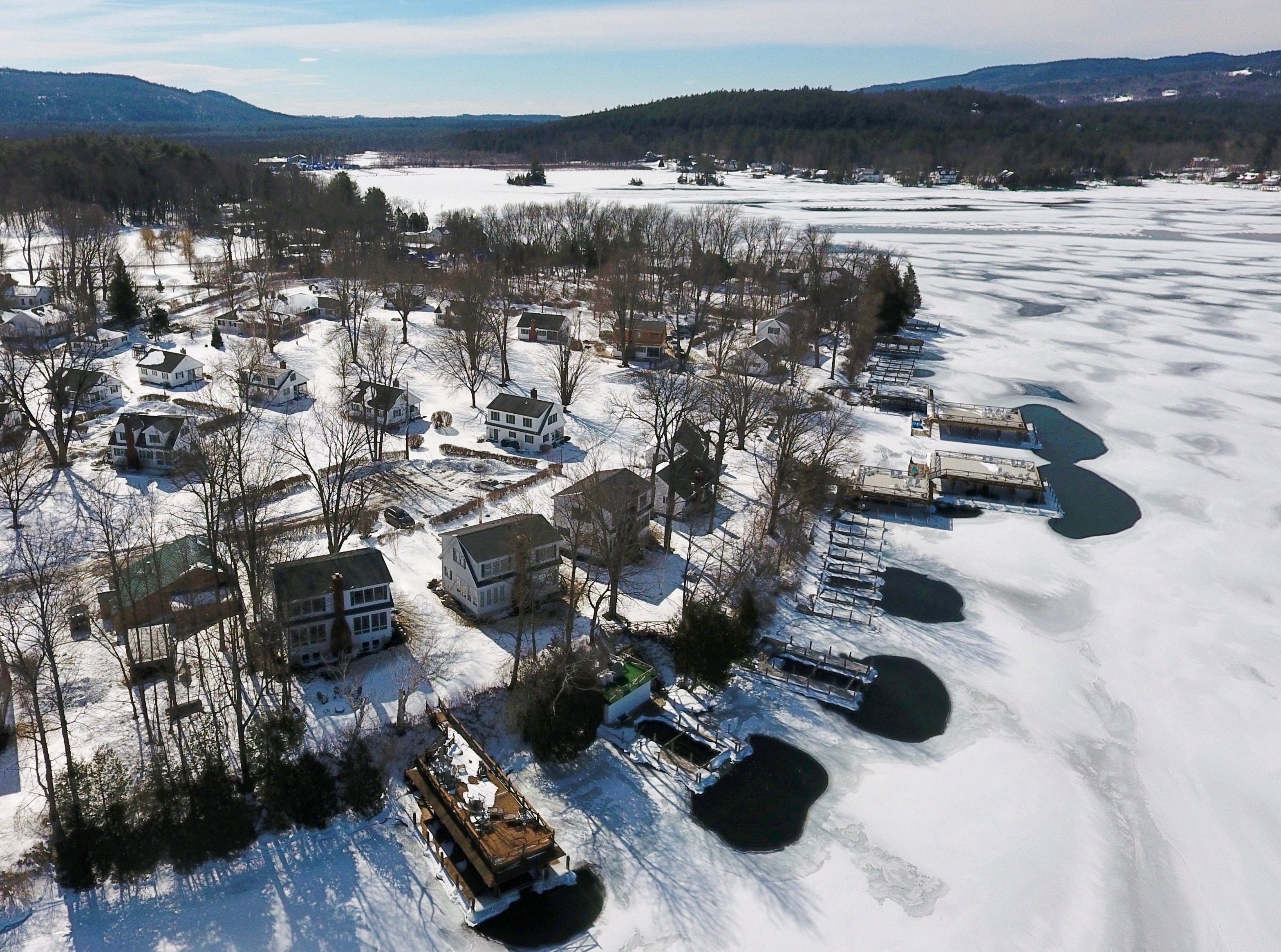 looking over Takundewide Cottages on Lake George during the winter