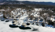 Winter aerial view of Takundewide Cottages