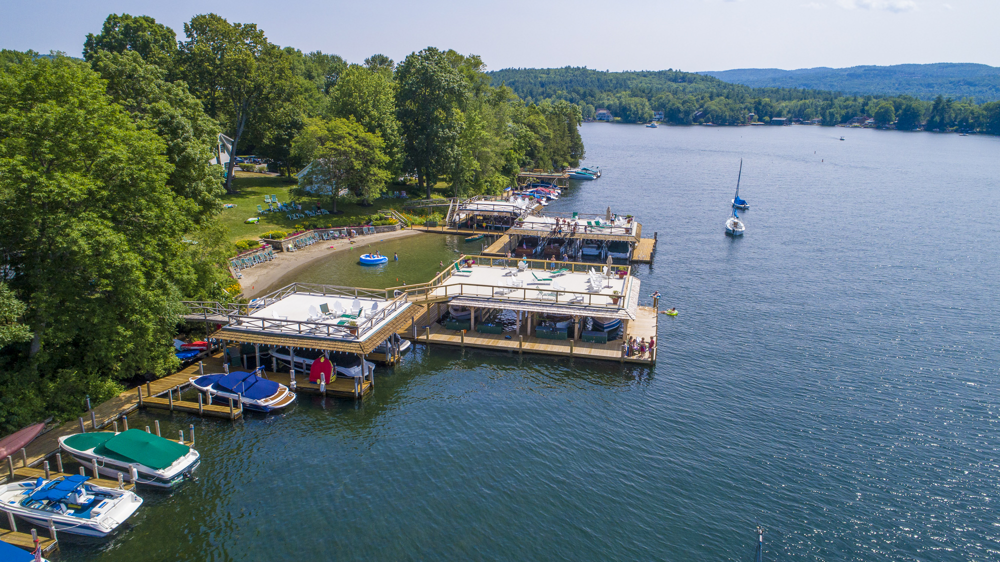 Takundewide Cottages on Lake George covered and undovered docks and sailboat moorings