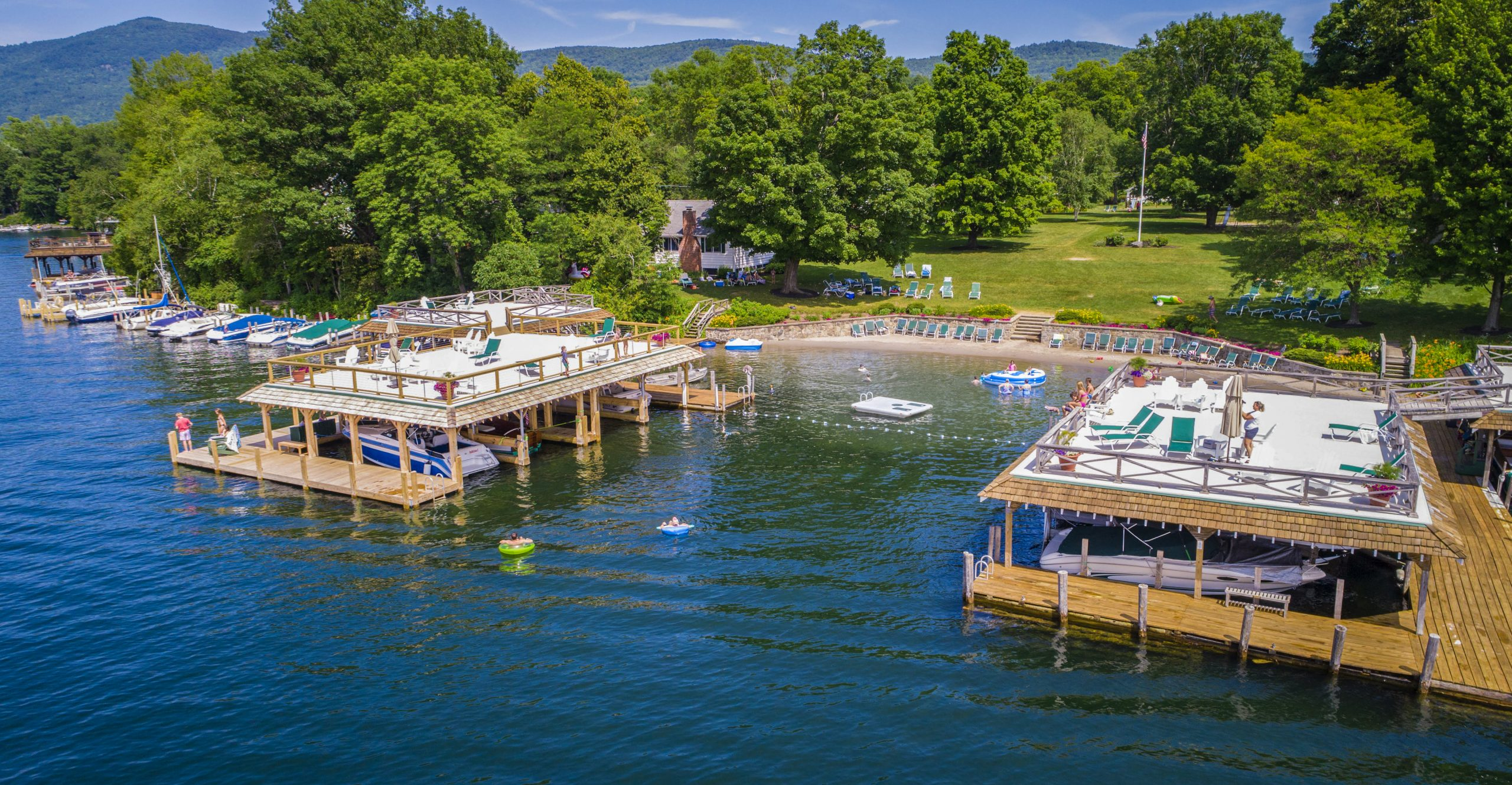 Lake George vacation cabin rentals dock and beach