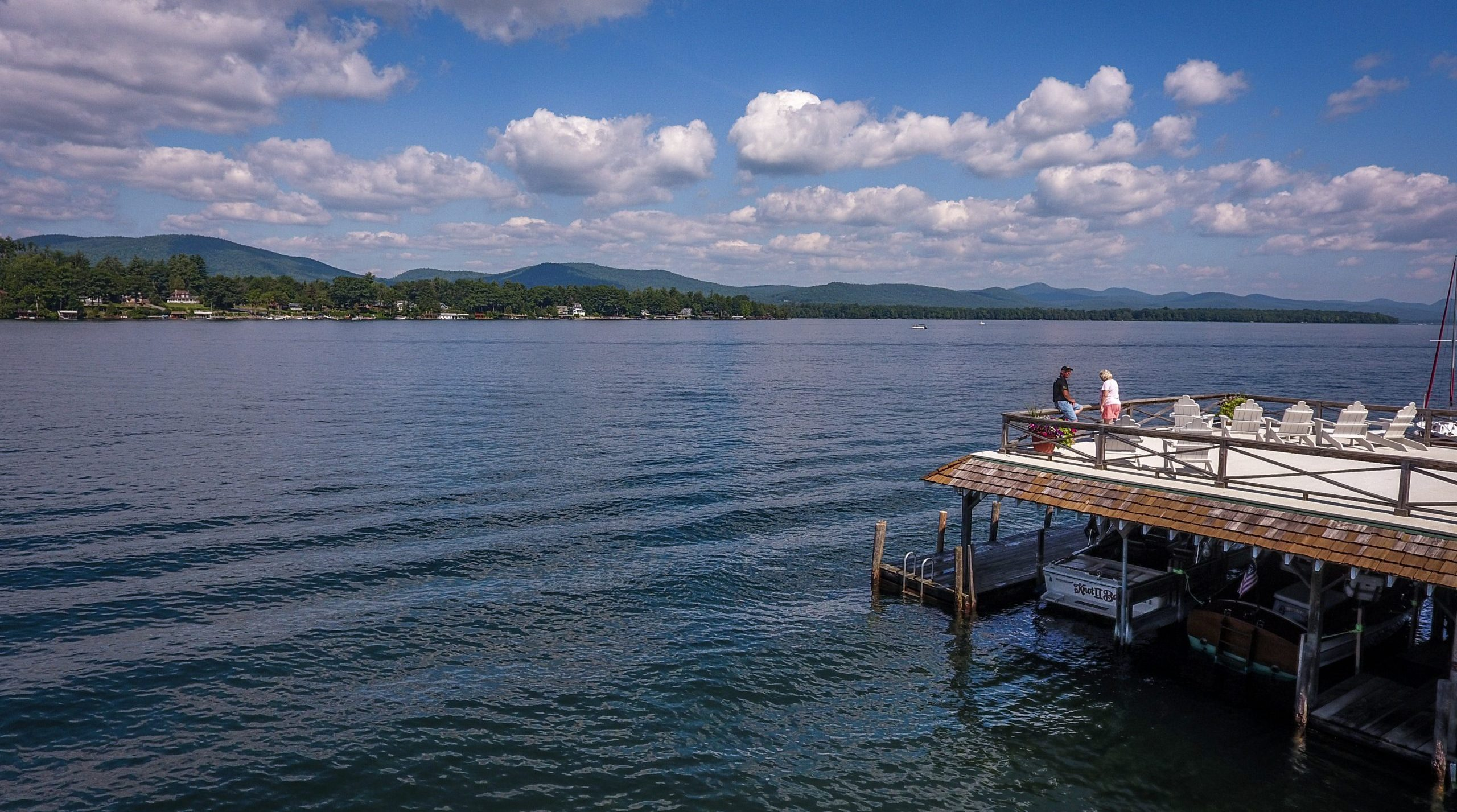 Lake George vacation rental cabins boathouse sundeck with spectacular view