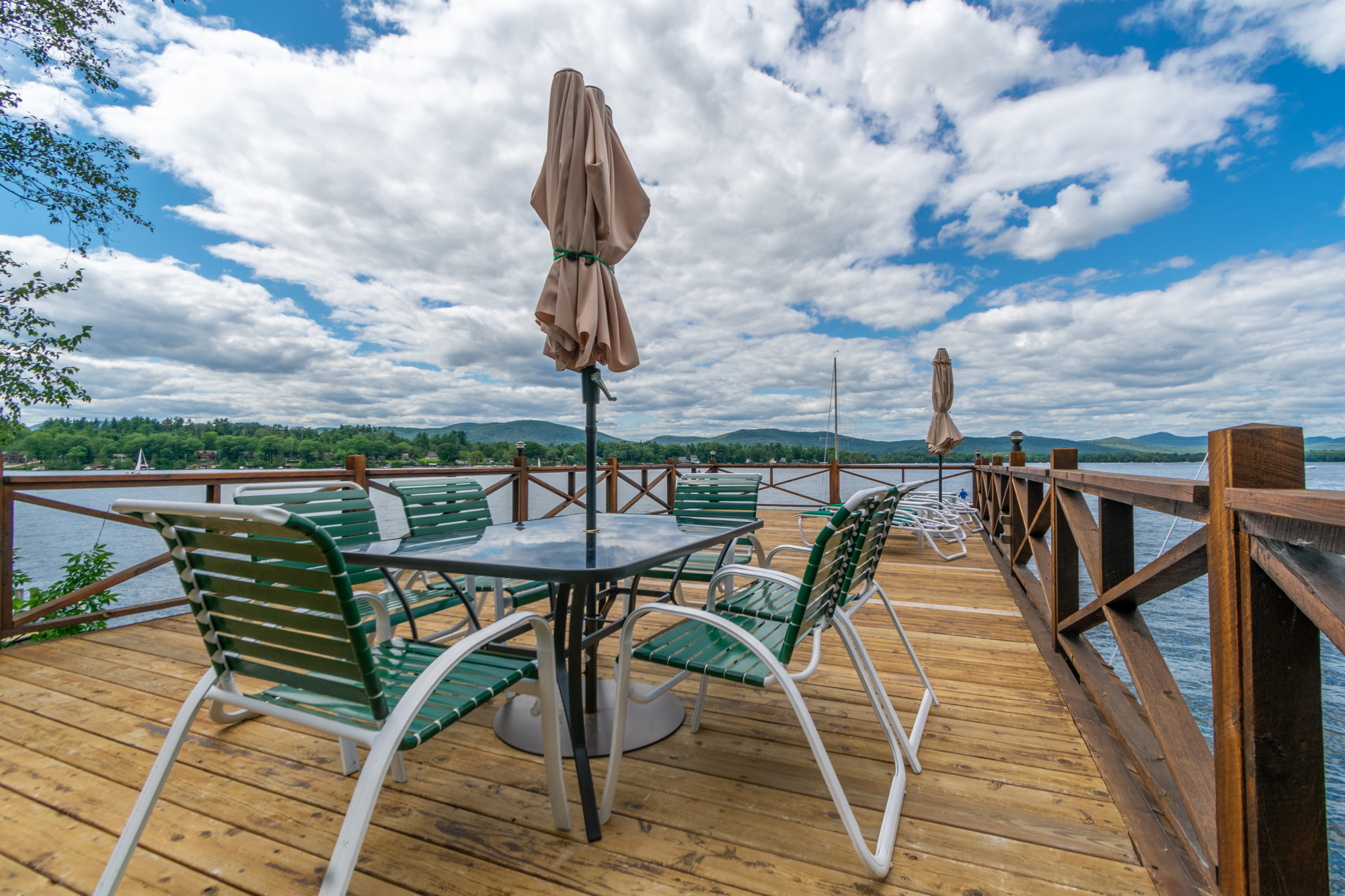 Lake George vacation cabin rental #8 private sundeck at Takundewide Cottages on Lake George